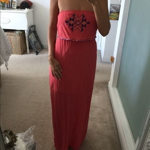 Strapless maxi dress with front detail and slip